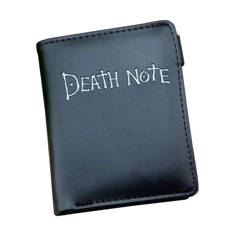Japan Death Note Comic Men Wallets Mini Black Leather Cool Design Women Purse Zipper Coins Bags With Button Key Wallets For Gift oreimo comic anthology
