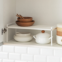 Metal Storage Shelf 2 Tier Raised Food and Kitchen Organizer for Cabinets, Pantry Shelves, Countertops, Closet