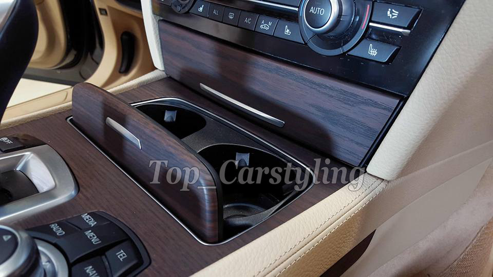 Dark woodgrain car wraping film Teak wood car styling (2)