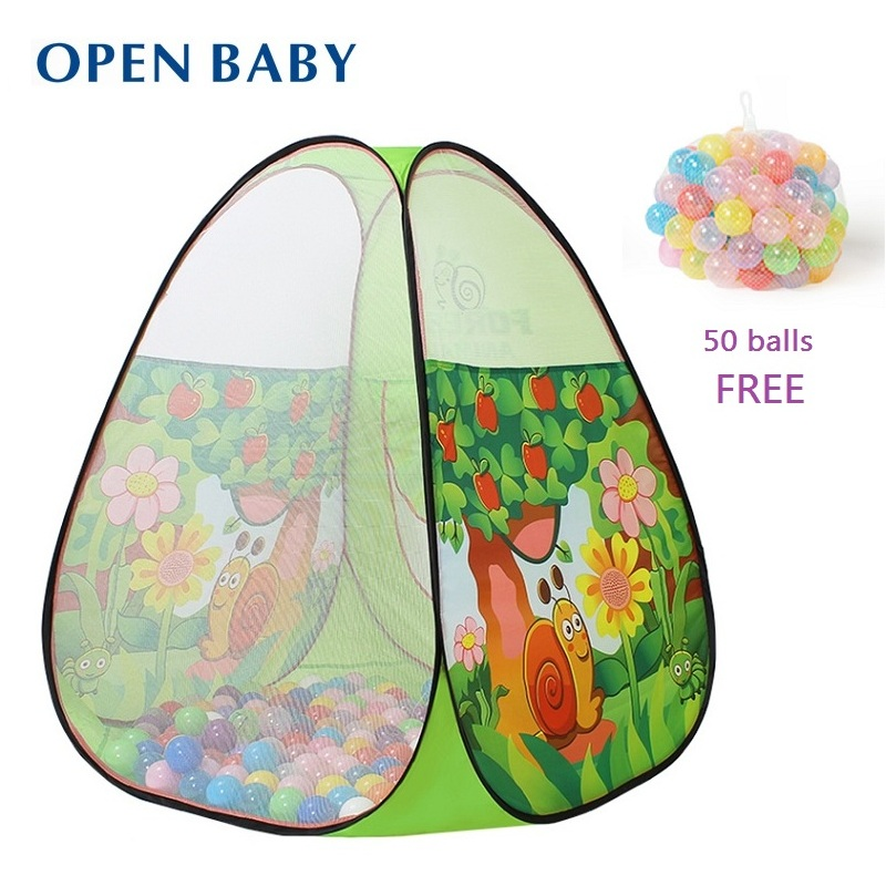 open baby new arrival child game house large original design green baby kids ocean ball pit pool play toy tent 50pcs balls free