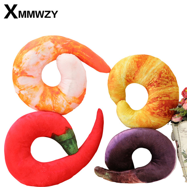 Creative Pillow Simulation Shrimp U Shaped Neck Pillows Cute Food Cushion Soft Comfortable Cartoon