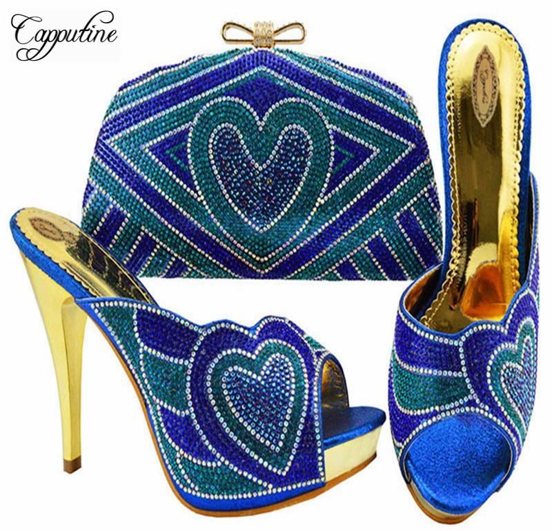 Ensemble Robe Or Sac Royal La fuchsia Fête Pompes Et pourpre Strass argent Nigreian pu Ciel or Conception Couleur Capputine Dames Style Africain Blue Pour Chaussures qxz8Ta