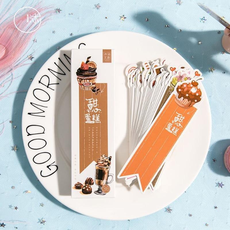 30pcs/box Kawaii Sweet Cake Student Bookmarks Decoration Stationery Gift Realistic Cartoon Bookmarks Office School Supply