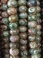 2strands/lot 3Eyes Prayer Mala Green Tibetan Mystical Agate Dzi Beads Tibetan Agate Rice Gems Stone Matte Turtleback Drum Beads