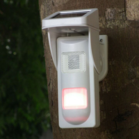 Outdoor Wireless Solar Dual Infrared Sensor PIR With Single Voice Alertor IP65 Waterproof Design For Sound