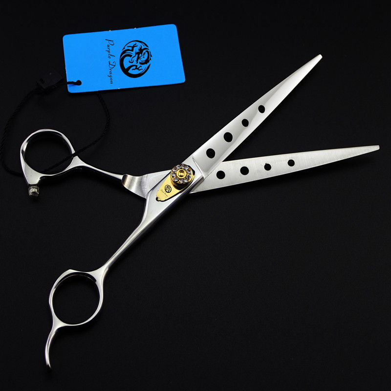Purple Dragon 7.0 inch Professional Pet Straight Scissors Dog Grooming Scissors High Quality 440C Pet HairCut Shears With Case