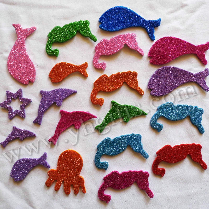20PCS(1bag)/LOT.Glitter ocean animal foam shape,Kids toy.Scrapbooking kit.Early educational DIY.kindergarten craft.Wall decor.