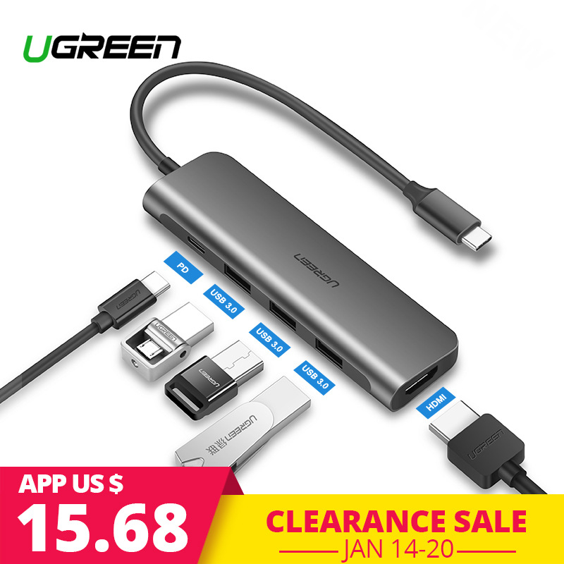 Ugreen USB C HUB USB-C to 3.0 HUB HDMI Thunderbolt 3 Adapter for MacBook Samsung Galaxy S9 Huawei P20 Mate 20 Pro Type C USB HUB