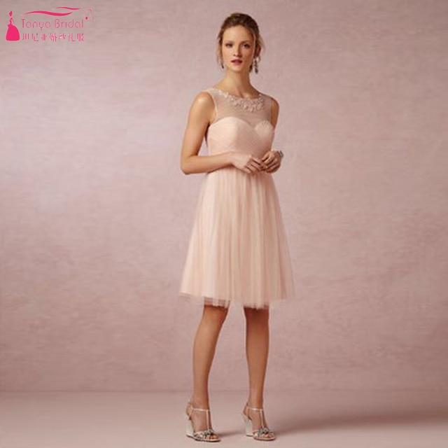 Pink Knee Length Bridesmaid Dresses