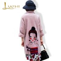 LVCHI высокое качество 2019 шерстяное пальто мех натуральный мех Bodycon Розовый Модный овечий мех плащ с v образным вырезом элегантная женская оде