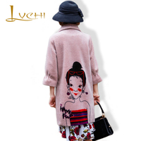 LVCHI High Quality 2019 Wool Coat Fur Real Fur Bodycon Pink Fashion Lamb Cloak Fur V Neck Elegant Women Clothing Plus Size S 6XL