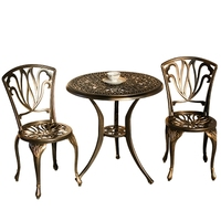 Courtyard garden cast aluminum tables and chairs three pieces of European style outdoor open air balcony small coffee table