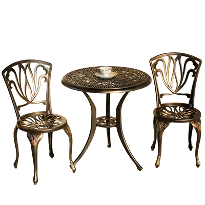 Courtyard garden cast aluminum tables and chairs three pieces of European-style outdoor open-air balcony small coffee table hand column umbrella outdoor patio umbrellas sun tables and chairs balcony booth