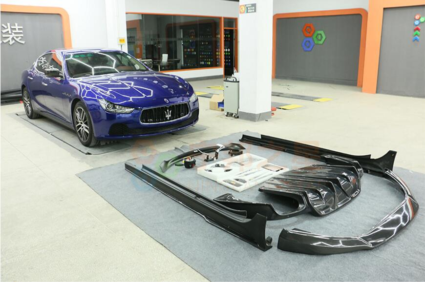 Карбоновое волокно автомобиля передний бампер для губ + задний диффузор + спойлер, крыло, багажник + боковой юбки комплект крышка для Maserati