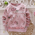 Girls Hoodies Children Hoody with Floral Print Kids Hoodie 2016 Autumn Girl T Shirt 1-3Y Girls Sweatshirt