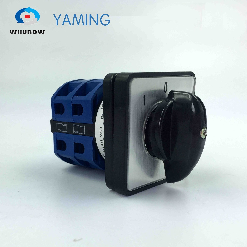 Yaming electric YMW26-25/2 rotating switch 25A 2 poles 3 position (1-0-2) control motor circuit changeover cam switch 660v ui 10a ith 8 terminals rotary cam universal changeover combination switch