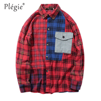 Plegie 2018 Autumn Color Block Patchwork Mens Red Plaid Shirts Hip Hop Casual Long Sleeve Pocket Shirts Fashion Male Shirts