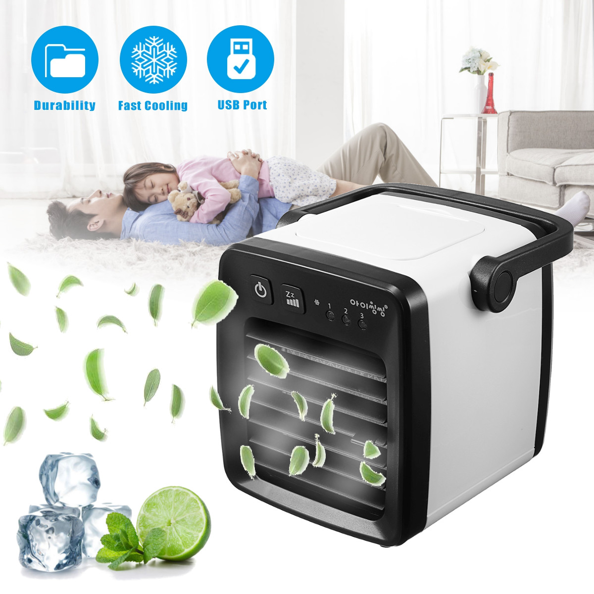 Universal 3 speed Air Conditioner Cooler Humidifier Purifier USB Fan Portable Home Car Flow