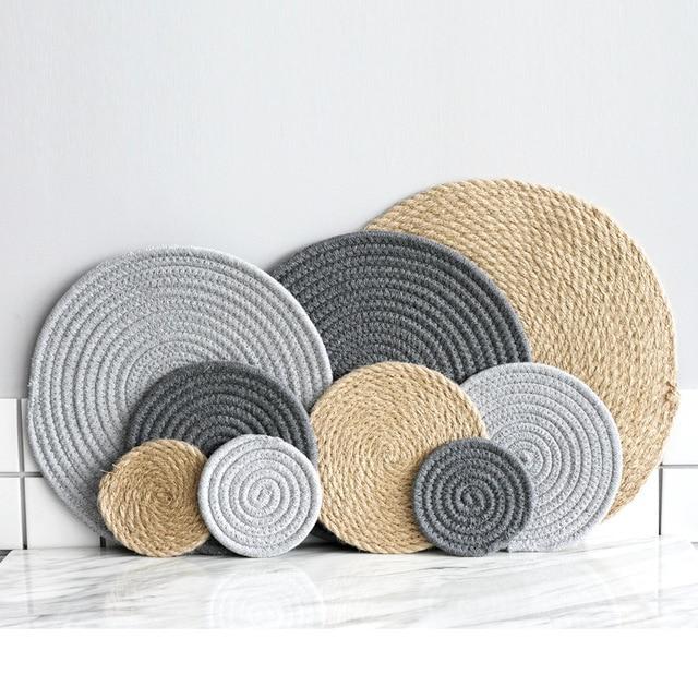 Placemat Pad Coasters Kitchen Table Mats Cotton Linen Knitting Bowl Padding Mat Insulation Round