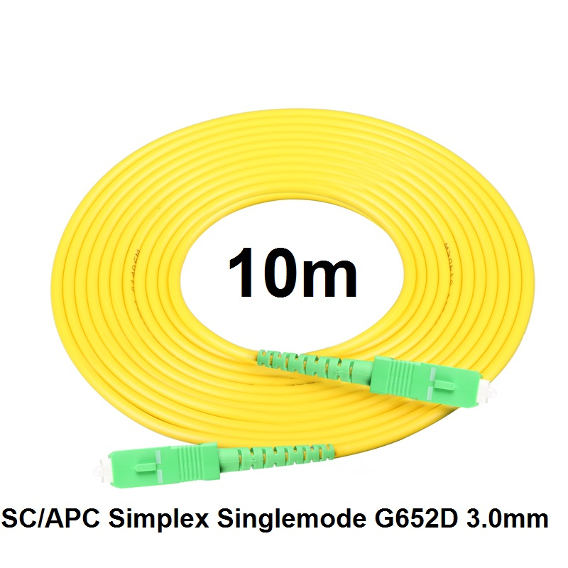Free Shipping SM SX PVC 3mm 10 Meters SC/APC Fiber Optic Jumper Cable SC/APC-SC/APC Fiber Optic Patch Cord
