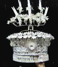charming Chinese Minority Nationalities Miao Silver Headdress Hat/model Free Shipping(China)
