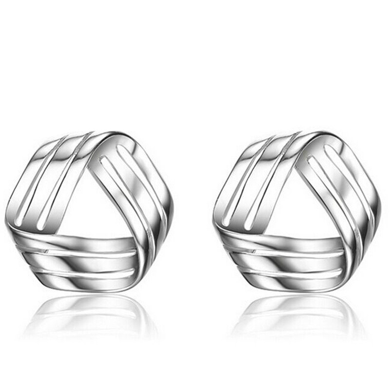 Three Wire Twisted Intersection Silver Earrings for Women Summer Style ...