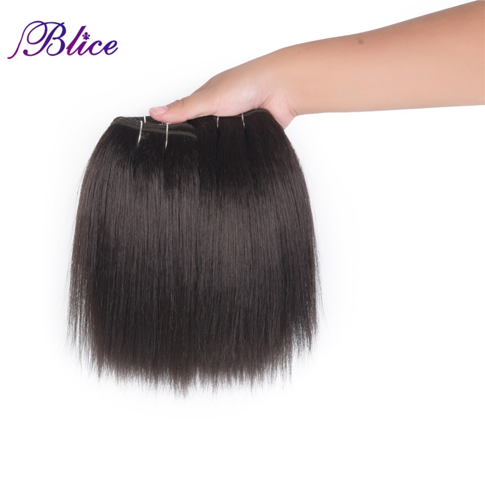 Blice Hair Weaving 8-22 Inch Natural Color One Bundle Yaki Straight Double Weft