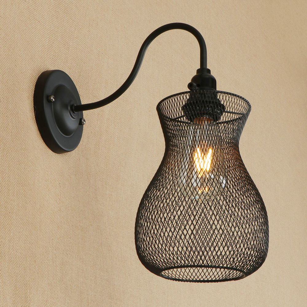 Vintage Iron net Wall Lamp Modern Black metal cage Wall Lights Bedroom bedside lamp Hallway wall Sconces Retro Indoor lighting