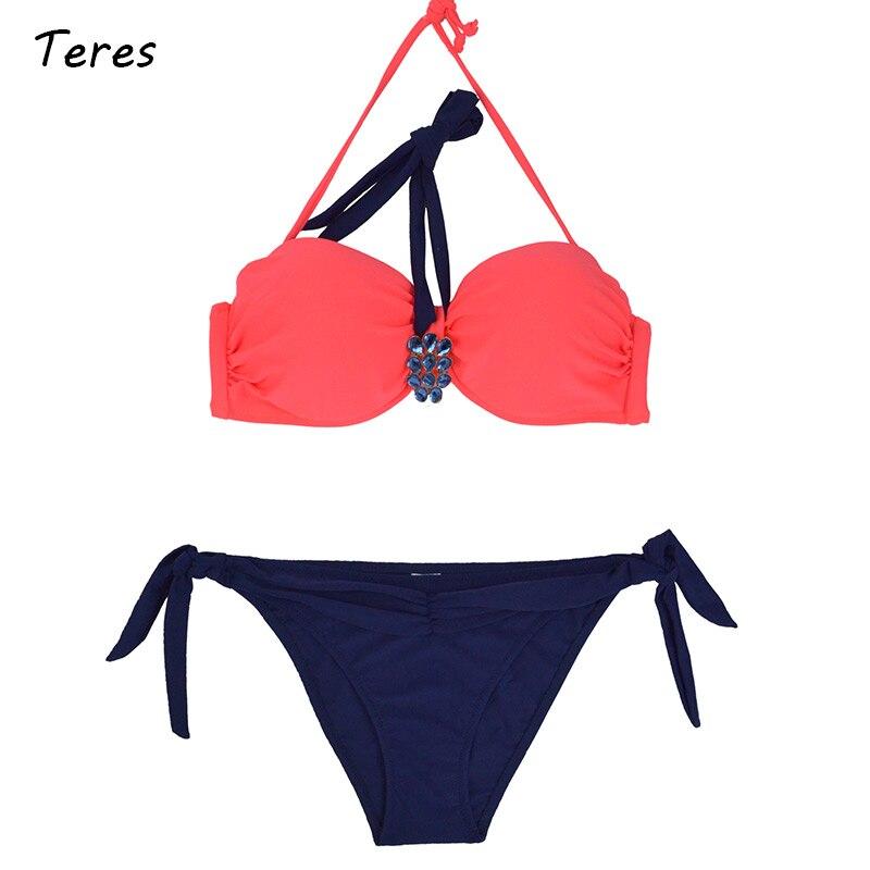 Teres Sexy Striped Bikini Women Push Up Vintage Swimwear Female Underwire Swimsuit Beach Bathing Suit Summer Hot Swim Wear 2017
