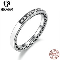 VOROCO Real 925 Sterling Silver Radiant Hearts Of Silver Enamel Ring For Women With Clear CZ