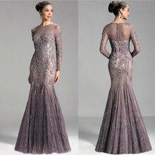 Vestido de festa, лавандовое кружевное элегантное вечернее платье с длинным рукавом, платье русалки для мамы невесты, Vestidos Madrina XMD23