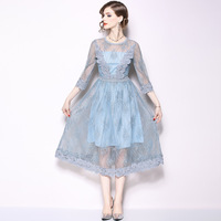 Autumn New Women Lace Dresses Floral Crochet Mesh Hollow Out Vestidos Patchwork Casual Slim Sexy Office Party Dress N5328