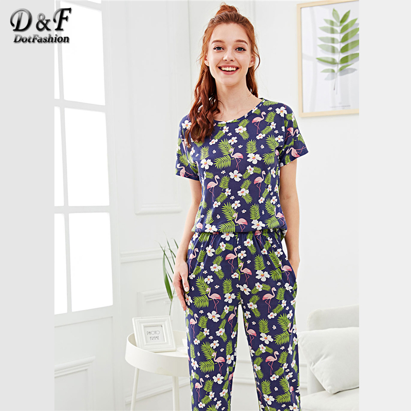 Dotfashion Floral Animal Tropical Flamingo & Flower Print   Pajama     Set   2019 Summer Ladies Casual Round Neck Short Sleeve Nightwear