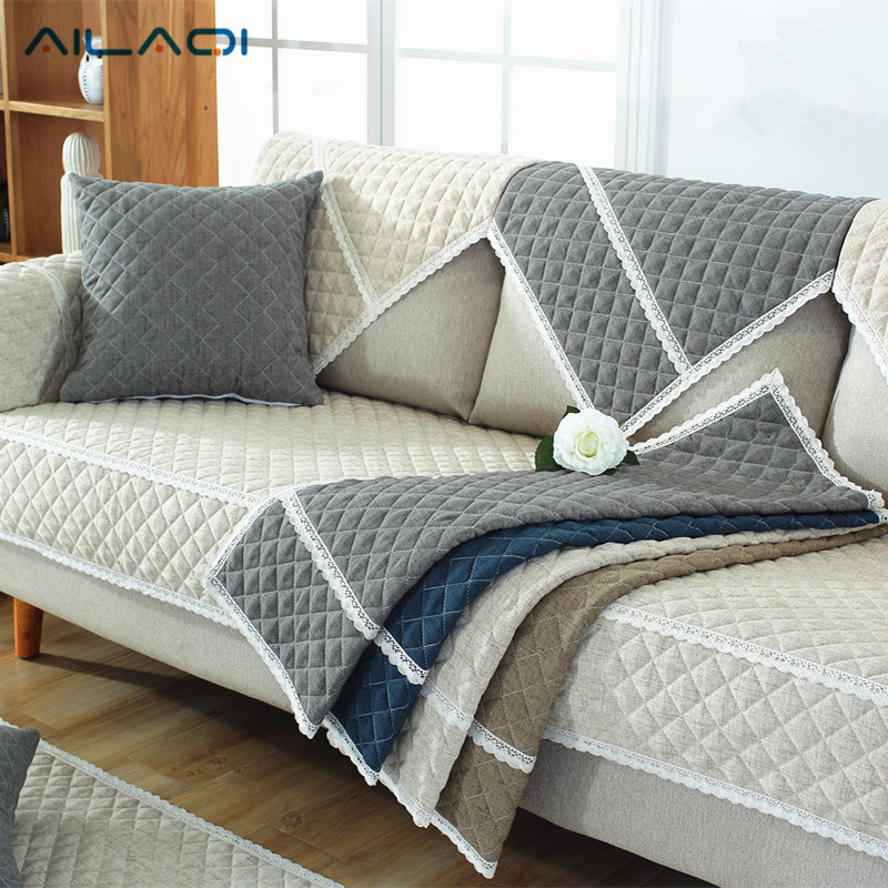 AILAQI 100% Cotton Sofa Cover For Living Room Soft Non Slip L Shaped Custom