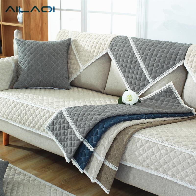 AILAQI 100% Cotton Sofa Cover for Living Room Soft Non-slip L Shaped Custom Slipcover Modern High Quality Corner Sofa Covers