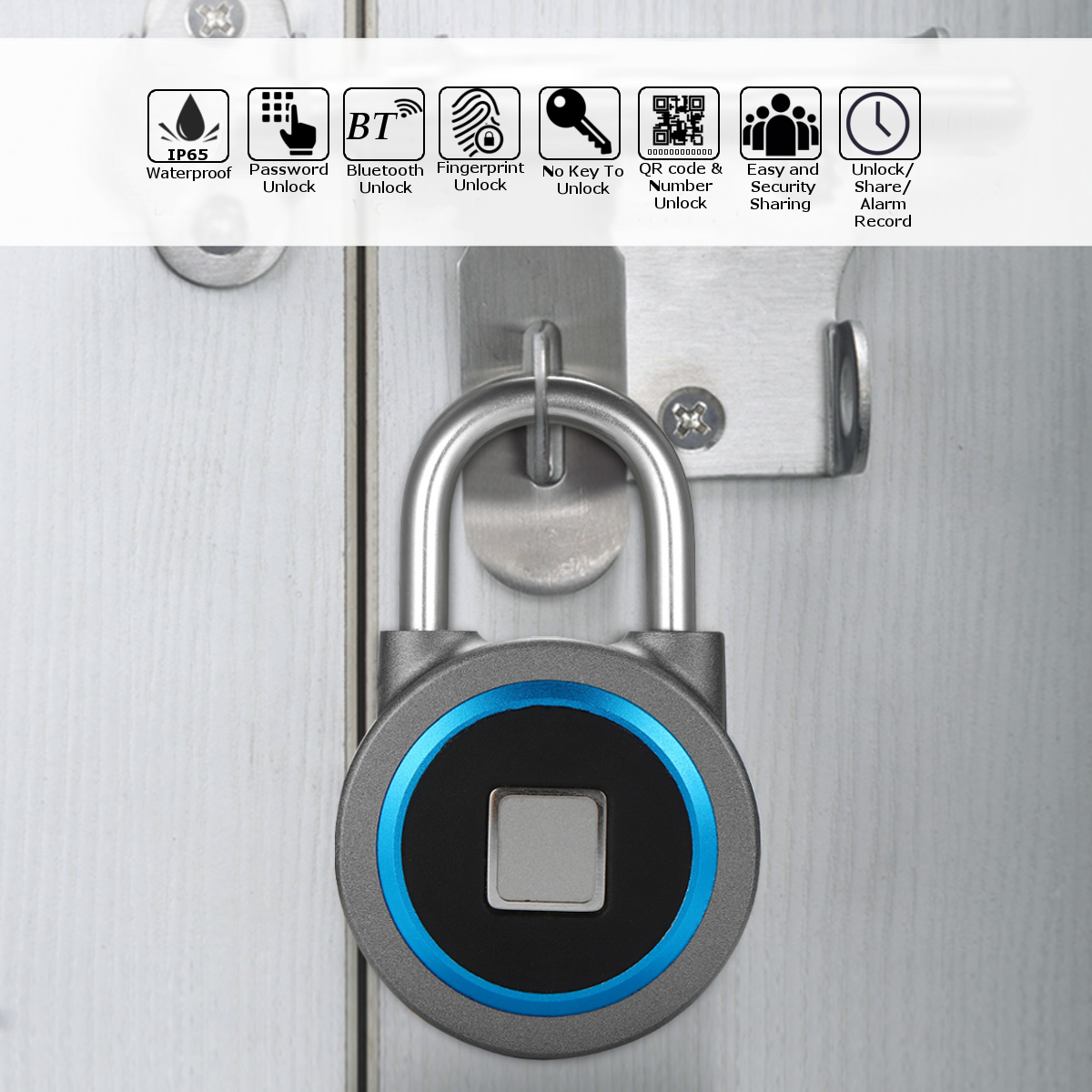 Bluetooth Lock APP Control Security Fingerprint Recognition Anti Theft Padlock 15 Groups Fingerprints for IOS/Android Waterproof