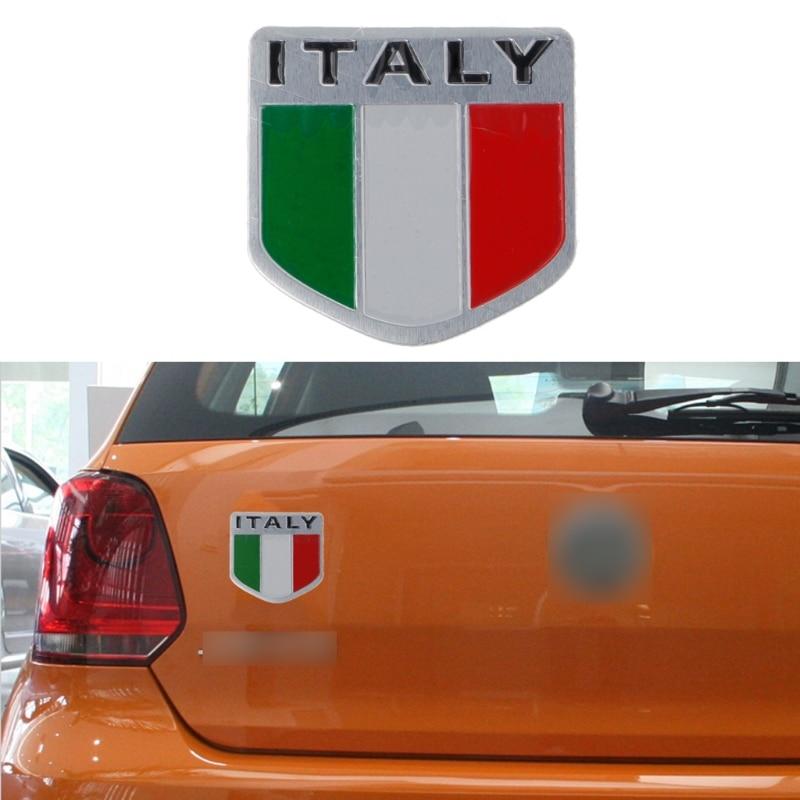 Big Sale Aluminum Italian Flag Car Sticker Logo Emblem Badge For