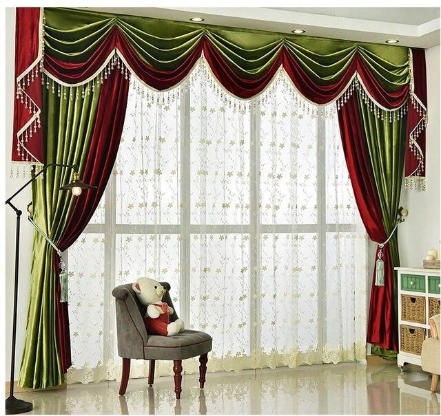 2017 nieuwe collectie europese luxe italiaanse fluwelen geborduurde volant rode gordijnen gordijn customization cortina voor woonkamer