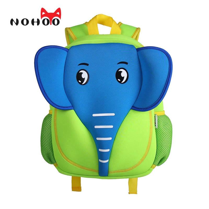 NOHOO 3D School Bag Waterproof Animals Cartoon Elephant Backpack Neoprene Kids Baby Bags Children School Bags For Girls Boys nohoo tiger type neoprene backpacks