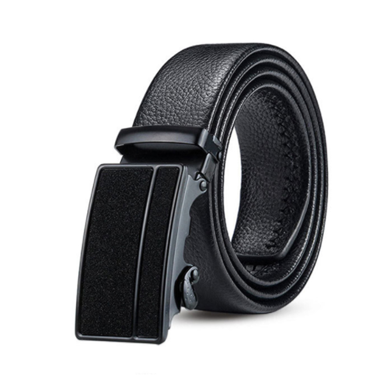 Best Selling Like Stars Shining Black Automatic Buckle Men's Belt Double-Edged Scratch-Resistant Youth Belt