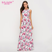 S.FLAVOR Bohemian Sleeveless Women Long Maxi Dress Women Elegant Party Beach Sundress Floral Printed Slim Sexy Vestidos(China)