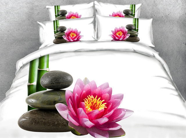 Jf 117 Simple Elegant Bedding Set Bamboo Pebble Stones Lotus Flower