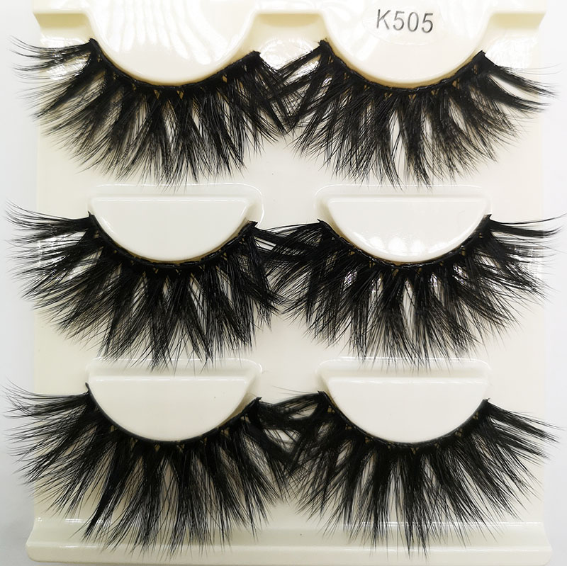 102c44811dd 3 Pairs 25mm Lashes 3D Faux Mink Hair False Eyelashes Thick Long Wispy  Fluffy Eyelashes Handmade Eye Makeup Tools