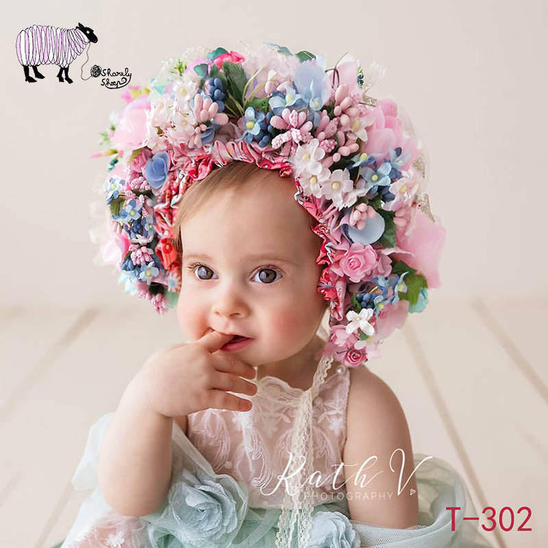 dee2653efd5 Newborn Baby Photography Flower Hat Props Tiny Baby Photo Shooting Studio  Posing Florals Cap Infant bebe fotografia Accessories