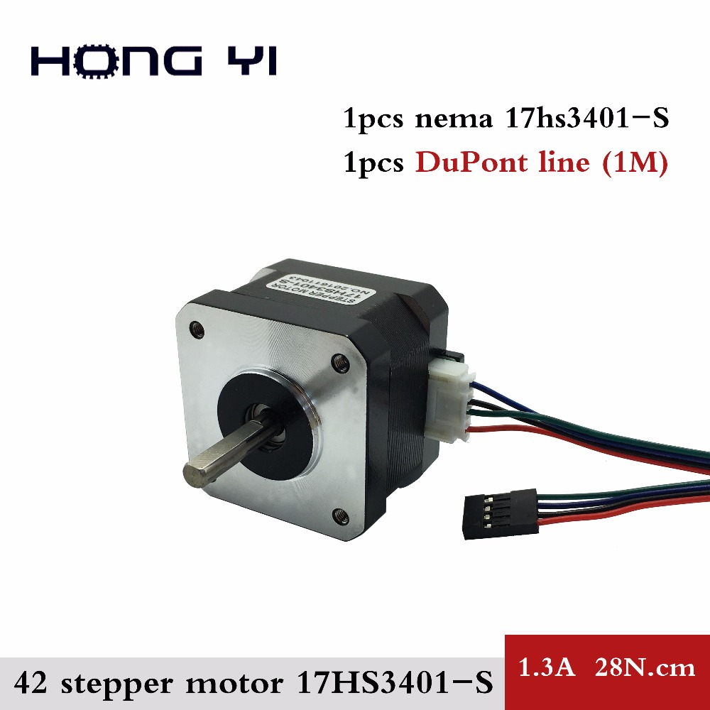 free shipping for 3D printer 1pcs 17HS3401S 4-lead Nema17 Stepper Motor 42 motor 42BYGH 1.3A CE ROSH ISO CNC with DuPont line