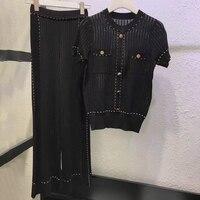 Женские комплекты с широкими штанинами с эластичной резинкой на талии 2019, высококачественный комплект, женские повседневные комплекты, пол