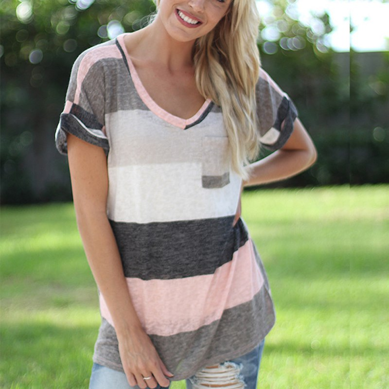 New Fashion Women Ladies Casual Loose Tops Short Sleeve Stripe T-Shirt Summer F46 multicolor stripe short sleeve loose t shirt