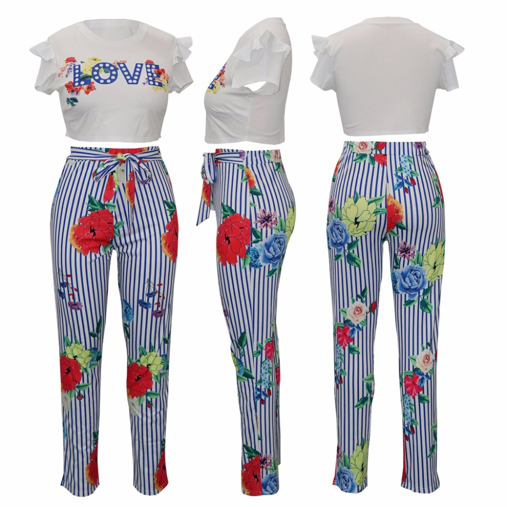 Adogirl High Fashion Ladies Two Piece Set Sexy Jumpsuit Striped Print Rompers Women Jumpsuit Summer Clothes For Women