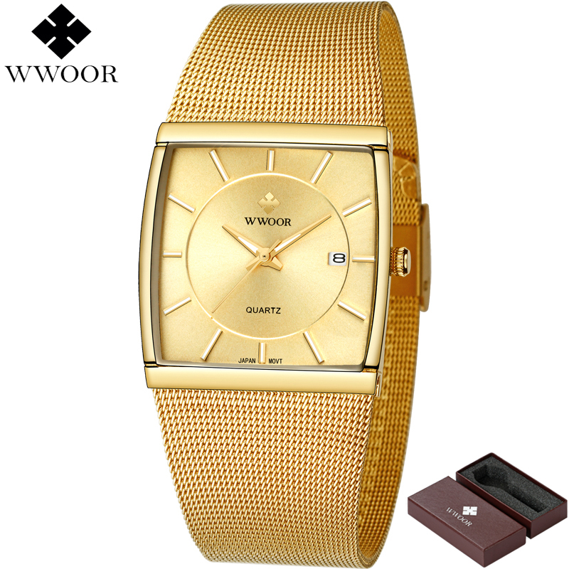 New WWOOR Brand Luxury Men Square Waterproof Business Gold Watches Men's Quartz Analog Date Clock Male Fashion Sport Wrist Watch xinge top brand luxury leather strap military watches male sport clock business 2017 quartz men fashion wrist watches xg1080