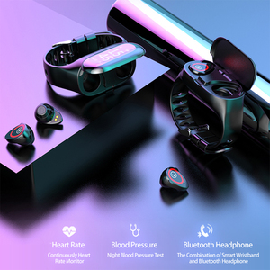 Image 2 - Femperna Bluetooth Kopfhörer Bluetooth 5,0 Drahtlose Kopfhörer TWS Mit Fitness Armband Herz Rate Monitor Smart Uhr